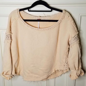Free People Distressed Pink Boho Sweatshirt